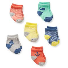6-Pack Nautical Baby Socks
