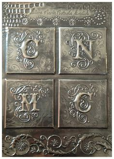 Cover for a book box for my little niece by Yvonne Botha, Pewter me blue - Nice letters! Metal Tape Art, Metal Artwork, Tin Can Art, Tin Art, Aluminum Foil Crafts, Metal Crafts, Pewter Art, Pewter Metal, Metal Embossing