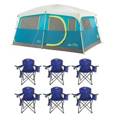 Coleman Tenaya Lake 8 Person Instant Cabin WeatherTec Camping Tent w/ 6 Chairs