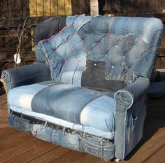 How To Recycle My Sofa Queen Sleeper Dimensions 99 Best Denim Images Old Jeans Blue Bag Furniture Home Deco Funky Makeover