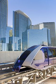 Tram transports passengers around City Center, Las Vegas, Nevada, Futuristic Vehicle, Future Train #travel #AmbassadorTravel
