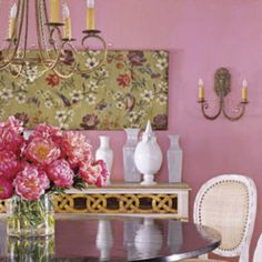 best classic interior home design: Pink dining room Pink Dining Rooms, Gold Rooms, Favorite Paint Colors, Piece A Vivre, Pink Houses, Pink Room, Pink Walls, Of Wallpaper, Beach House Decor
