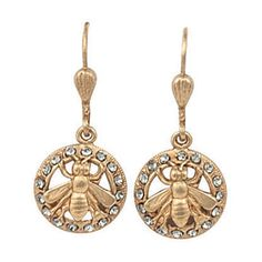 Catherine Popesco Gold Bee in Circle Black Diamond Crystal Earrings