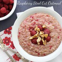 ♥ Raspberry Steel Cut Oatmeal