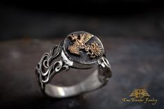 Musashi's Fire Element Ring silver and gold, the Book of Five Rings