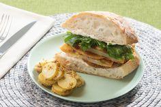 Fried Green Tomato Sandwiches with Aioli & Potato Salad. Visit https://www.blueapron.com/ to receive the ingredients.