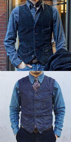 Raylans Mens Casual Button Down Denim Vest Slim Fit Sleeveless Jeans Vests Jacket