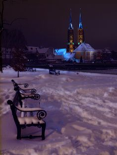 John the Baptist Cathedral, a view from Piasek Island. Poland Cities, Snow Photography, Poland Travel, Central Europe, Warsaw, The Good Place, Places To Visit, Park Benches, Adventure