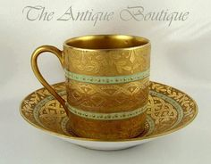 Antique Sevres French Porcelain Heavy Gilt Demitasse Cup & Saucer I have one that is rather like this one.