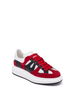 ALEXANDER MCQUEEN Contrast Paneled Calf Leather & Mesh Sneakers. # alexandermcqueen #shoes #sneakers