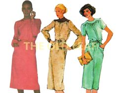 Sewing Pattern for 1970s Dress with Gathered Yoke, Simplicity 9114 #Dressmaking #70sFashion #1970sDresses #PlusSizeSewing #YokedNeckline #TheOldLeaf