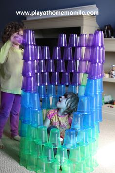 """Building with cups from Play at Home Moms LLC ("""",)  Repinned by Apraxia Kids Learning. Come join us on Facebook at Apraxia Kids Learning Activities and Support- Parent Led Group."""