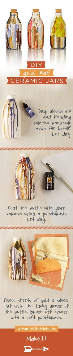 Get creative with these DIY Gold Leaf Ceramic Jars. Find everything you need for this craft at your local Michaels.