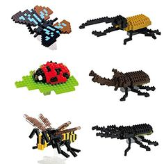 SainSmart Jr. 6 Pack Diamond Blocks Insect Butterfly Bee Hercules Stag Beetle Uang Coccinella Compatible Nano Block DIY Micro Bricks Toys >>> This is an Amazon Affiliate link. Click image to review more details.