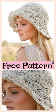 10 Most Beautiful Crochet Sun Hat Free Patterns #freecrochetpatterns #sunhat #hat