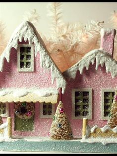 Vintage five and ten cent store puts glitter house pink Christmas 5 and 10