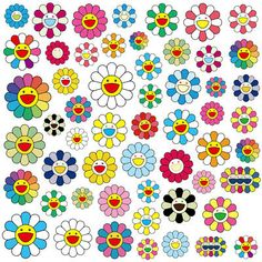 Flower Aesthetic, Aesthetic Collage, Kids Stickers, Cute Stickers, Murakami Flower, Photographie Indie, Indie Drawings, Harry Potter Disney, Indie Room Decor