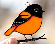 Unique stained glass birds on a branch is a perfect choice to decorate your home. Choose handcrafted gifts made of stained glass, which will please you for years to come Stained Glass Birds, Stained Glass Suncatchers, Stained Glass Crafts, Stained Glass Designs, Stained Glass Panels, Fused Glass Art, Stained Glass Patterns, Mosaic Art, Mosaic Mirrors