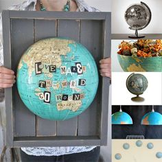 Great way to repurpose an old globe into art!