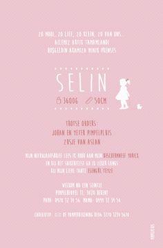 Geboortekaartje Selin - achterkant - Pimpelpluis - https://www.facebook.com/pages/Pimpelpluis/188675421305550?ref=hl (#  meisje - broertje - lief - roze - silhouet - origineel)