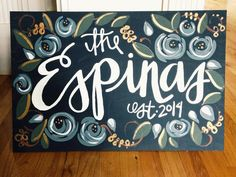 Custom wedding/couple painting. Last name painted with by apt2507