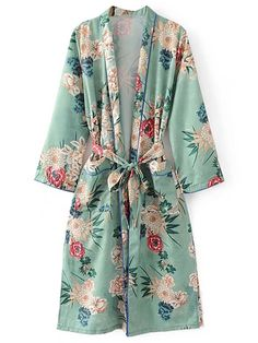 Kimono imprimé à imprimé floral avec cravate auto-French SheIn(Sheinside)