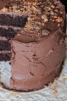 Double Chocolate Butterfinger Layered Cake by Picky Palate #chocolate
