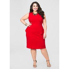 Ashley Stewart Peplum Sheath Dress Barbados Cherry (€48) via Polyvore featuring dresses, womens plus dresses, plus size peplum dress, zipper back dress, plus size dresses en red sheath dress