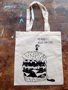 "Jutebeutel ""My Burger is bigger than yours"" // Tote bag by FellHerz bei DaWanda.com"