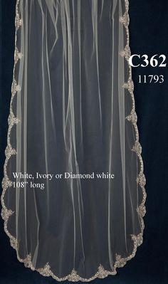 Regal JL Johnson Bridals C362 Embroidered Cathedral Wedding Veil - Affordable Elegance Bridal