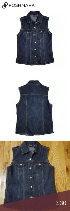 "Chico's Dark Denim Vest Like New Size 0 Excellent, pristine condition. Company distressed. Fabric content in 4th pic. Buttons are used instead of snaps. Dark wash.  Shoulder to shoulder approx 14 1/4"" across when flat, armpit to armpit 18"", armhole 8.5"", length 23.5"". All measurements are approximate. Chico's Jackets & Coats Vests"