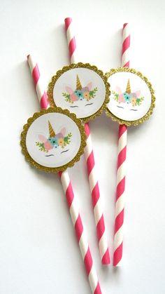 12 Unicorn Gold Party Straws, Unicorn Theme, Gold and Pink, Baby Shower, Unicorn Party, Unicorn Birthday, Party Decor, Unicorns and Glitter by thepartypenguin on Etsy