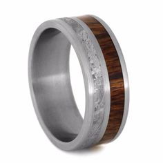Caribbean Rosewood And Meteorite Wedding Band