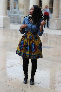 Wax Print & Denim in Fall African Wear, African Fashion, African Style, Black Women Fashion, Womens Fashion, Style Africain, Print Denim, Street Look, Swimwear Fashion
