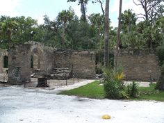 The Sugar Mill Ruins in New Smyrna Beach, Florida is a historic site from  1830 where a sugar mill and saw mill were built.  Five years after that, the mills and other buildings were destroyed by Seminole Indians.  It was later inhabited by soldiers who were posted there to keep an eye on the Indians.