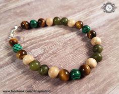 Armband besteht aus den Edelsteinperlen: Tigerauge, Malachit, Rhodonit und Jade