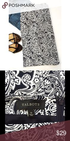 Black & White Paisley Pencil Skirt by Talbots NWOT. Excellent condition. Never worn! Black & white paisley print. Knee length. 97% cotton, 3% spandex. Fully lined with hidden back zip. Comes from a smoke- and pet-free house. Bundle for additional savings!  CLOSET CLOSING 6/30 to 7/20. If you like it, get it now! Talbots Skirts Pencil