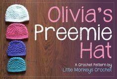 Free Crochet Pattern for NICU Charity Hats (sizes 1-2 lbs / 2-3.5 lbs / 3.5-5 lbs / 5-6 lbs) Use soft worsted weight yarn like Caron Simply Soft or Bernat Satin.