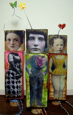 :: Art Dolls ::  ** salvaged**    uniquely crafted  from repurposed/recyclable materials.  April Cole's Studio - One artist. One Story. One brush stroke at a time.