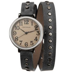 TOKYObay Black Austin Studded Wrap Watch ($145) ❤ liked on Polyvore featuring jewelry, watches, accessories, bracelets, jewels, wrap watch, leather jewelry, leather-strap watches, studded watches and leather wrap watch