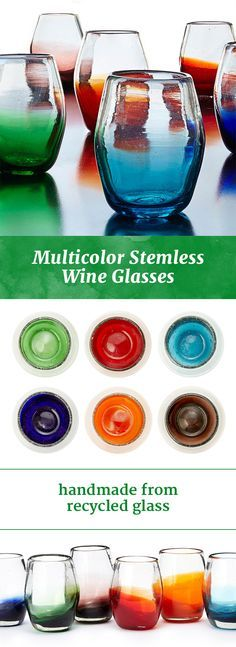 Mouth-blown by Mexican artisans from recycled glass, this stemless set features an array of splashy colors.