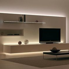 Most recent designs and pleasing TV wall designs. Living room tv Alcove S… Most recent designs and pleasing TV wall designs. House Design, Room Design, Interior Design, House Interior, Strip Lighting, Home, Interior, Home Decor, Living Room Designs