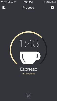 Coffee timer by Alexander Lazebny Web Design, App Ui Design, Mobile App Design, User Interface Design, Mobile Ui, Media Design, Ui Patterns, Coffee Logo, Simple App