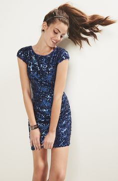 Such a gorgeous blue sequin sheath dress for homecoming.