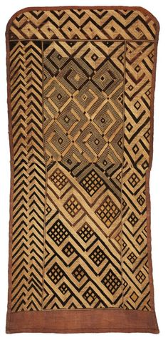 Africa | Noblewoman's Ceremonial Overskirt. Shoowa people, DR Congo | Early 20th century | Raffia palm fiber; stem stitch and cut pile embroidery