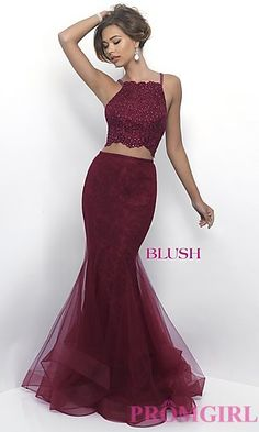 Blush Two-Piece Long Lace Prom Dress at PromGirl.com