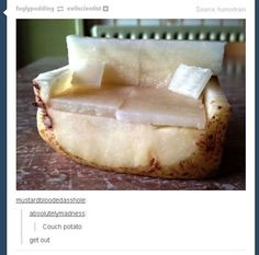 Oh. My. God. An *actual* couch potato. This is masterful and perhaps the greatest literal pun ever.