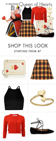 """Queen of Hearts"" by leslieakay ❤ liked on Polyvore featuring Charlotte Olympia, Marni, Boohoo, Alex and Ani, Oscar de la Renta, Gianvito Rossi, Dainty Edge, disney, disneybound and disneycharacter"
