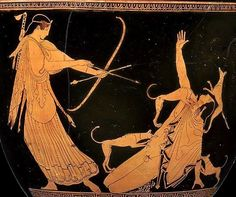Goddess Artemis prepares to put Actaeon out of his misery.