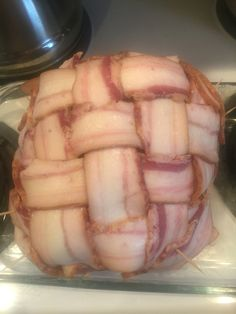 Wrapped my fresh ham in a bit of bacon, just to keep it juicy!